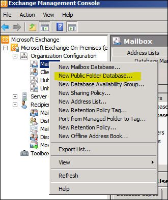 Questionhow to create a public folder database in for Microsoft public documents
