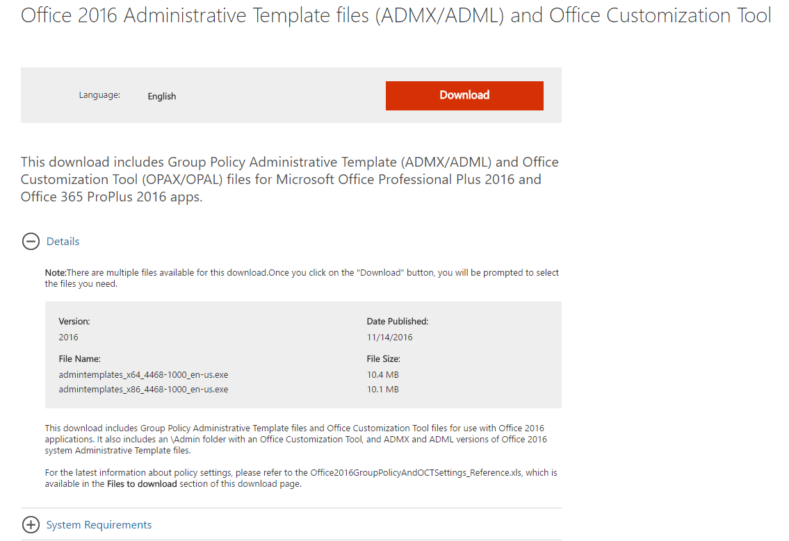 Install Microsoft Office 2016 Administrative Templates - Microsoft ...