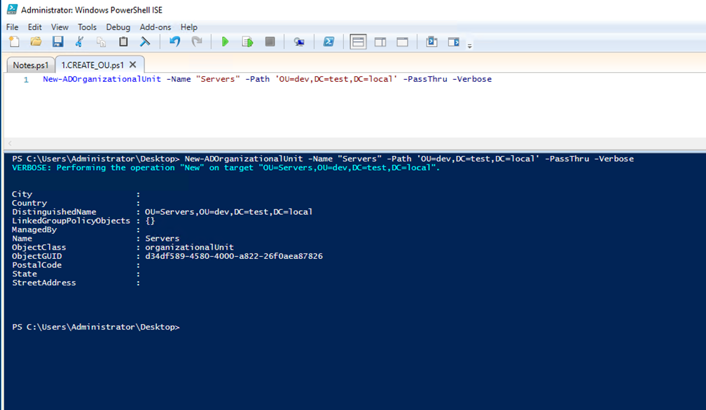 how to create security groups inside ou powershell
