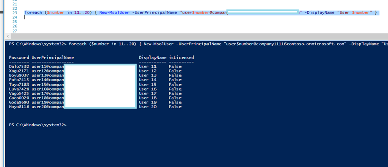 Create multiple Test Lab Users In  Office 365 Using PowerShell