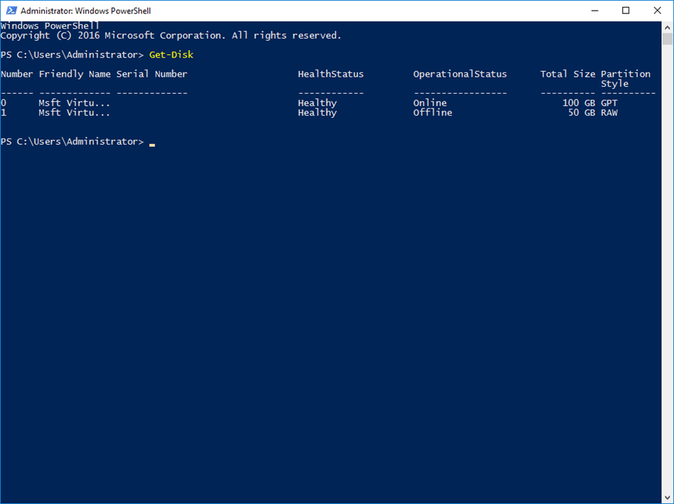 Get Disk Number From Drive Letter Powershell